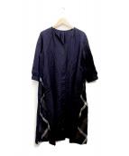 BLUE LABEL CRESTBRIDGE(ブルーレーベルクレストブリッジ)の古着「サイド切替シャツワンピース」|ネイビー