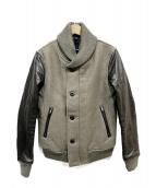 wjk(ダブルジェイケイ)の古着「ショールカラーレザー切替ジャケット」 グレー×ブラック