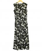 SACRA(サクラ)の古着「フラワープリント花柄ノースリーブワンピース」|ブラック