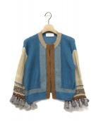 mame kurogouchi(マメ クロゴウチ)の古着「Ethnic Pattern Fringe Cardigan」