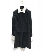 VALENTINO(ヴァレンティノ)の古着「コントラストカラークレープクチュールドレス」|ブラック