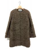 saqui(サキ)の古着「モヘアノーカラーコート」|ブラウン