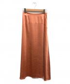 CELFORD()の古着「サテン切替フレアスカート」|オレンジ