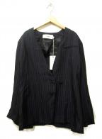 JANE SMITH(ジェーンスミス)の古着「NO COLLAR W JACKET」|ネイビー