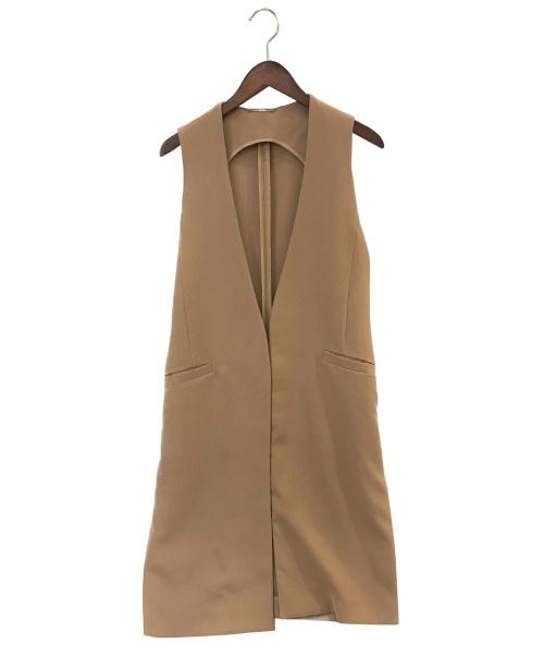 Mila Owen(ミラオーウェン)Mila Owen (ミラオーウェン) ベルト付ロングベスト キャメル サイズ:Fの古着・服飾アイテム