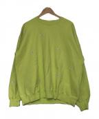 BLACK EYE PATCH(ブラックアイパッチ)の古着「PRICETAG CREW SWEAT」 黄緑