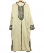 sara mallika(サラマリカ)の古着「刺繍ガウンワンピース」|アイボリー