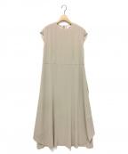 RIM.ARK(リムアーク)の古着「バックドレープ ハーフスリーブドレス」|ベージュ