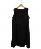 ENFOLD()の古着「PEダブルクロスフレンチギャザーN/Cドレス」 ブラック