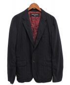 COMME des GARCONS HOMME(コムデギャルソンオム)の古着「縮絨テーラードジャケット」|ネイビー×ホワイト