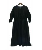 universal tissu(ユニバーサルティシュ)の古着「コットンオーガンジーピンタックギャザードレス」 ブラック