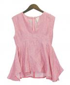 MYLAN(マイラン)の古着「リネンノースリーブブラウス」|ピンク