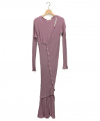 Little suzie()の古着「Asymmetry Ensemble Rib Dress」 パープル