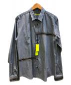 ()の古着「ラインドデザインシャツ」 スカイブルー