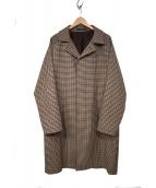 TAGLIATORE(タリアトーレ)の古着「千鳥格子ステンカラーコート」 ブラウン
