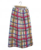 latelier du savon(アトリエドゥサボン)の古着「手描きAfricancheckスカート」|ピンク