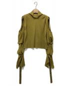 IRENE(アイレネ)の古着「リブコールドショルダーニット」|イエロー