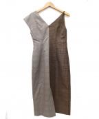 Lautashi(ラウタシー)の古着「アシンメトリーチェックワンピース」 ブラウン