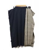 Vivienne Westwood RED LABEL(ヴィヴィアンウエストウッド レッドレーベル)の古着「ストライプ×チェックドッキングスカート」|ネイビー