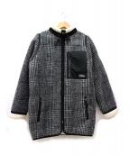 DOUBLE STANDARD CLOTHING(ダブルスタンダードクロージング)の古着「ボアチェックスタンドカラージャケット」|グレー