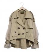 BELLE VINTAGE(ベルビンテージ)の古着「ボリューム袖ショートトレンチコート」 ベージュ