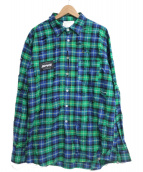 SWAGGER(スワッガー)の古着「ダメージ加工ネルシャツ」 グリーン