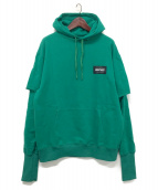 SWAGGER(スワッガー)の古着「LAYERED P/O SWEAT HOODIE」|グリーン