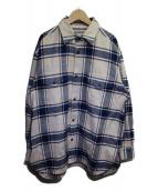 URU(ウル)の古着「コットンフランネルシャツ」|ベージュ×ネイビー