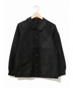 VINTAGE(ヴィンテージ/ビンテージ)の古着「[古着]ブラックモールスキンフレンチカバーオール」|ブラック