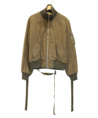 HELMUT LANG(ヘルムートラング)の古着「ヴィンテージ加工ハイカラーボンバージャケット」|カーキ