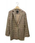 ()の古着「ベルテッドチェックジャケット」|ブラウン