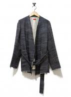 DES PRES(デプレ)の古着「ノーカラーツイードジャケット」|ネイビー