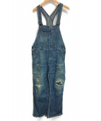 UNUSED(アンユーズド)の古着「ダメージ加工オーバーオール」|ブルー