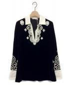 TORY BURCH(トリーバーチ)の古着「ベルベットビーズ刺繍シャツ」|ブラック