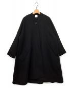 ELIN(エリン)の古着「ロング ウールノーカラーコート」|ブラック