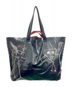 PLAN C(プランシー)の古着「スケッチプリントトートバッグ」|ブラック