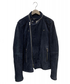 DIESEL BLACK GOLD(ディーゼルブラックゴールド)の古着「スウェードライダースジャケット」|ネイビー