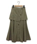 SAYAKA DAVIS(サヤカ デイビス)の古着「チェックレイヤードスカート」|ブラウン