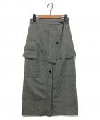 SAYAKA DAVIS(サヤカ デイヴィス)の古着「チェックレイヤードスカート」|グレー