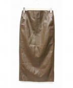 Plage()の古着「フェイクレザータイトスカート」|ブラウン
