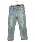 upper hights(アッパーハイツ)の古着「ダメージデニムパンツ」|ブルー