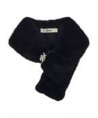 Rene(ルネ)の古着「ビジュー付きファーティペット」|ブラック