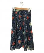 ANAYI(アナイ)の古着「ドットフラワープリントスカート」|ネイビー