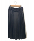 ()の古着「キュプラドレープフレアスカート」|ブラック