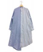Bonum(ボナム)の古着「切替ストライプシャツワンピース」|ブルー