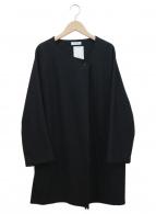 BEAUTY&YOUTH(ビューティーアンドユース)の古着「ウールジャージーノーカラーミドルカーディガン」|ブラック