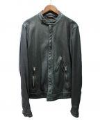 DOLCE & GABBANA(ドルチェ&ガッバーナ)の古着「USED加工シングルレザーライダースジャケット」|ブラック