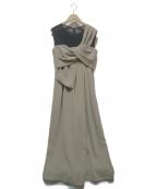 EMMEL REFINES(エメル リファインズ)の古着「アシメリボンオールインワン」|ベージュ×ブラック