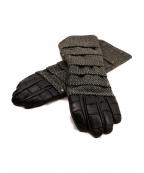 PHENOMENON(フェノメノン)の古着「レザーツイードグローブ」|ブラック