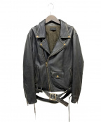 kei shirahata(ケイシラハタ)の古着「ヴィンテージ加工レザーライダースジャケット」 ブラック